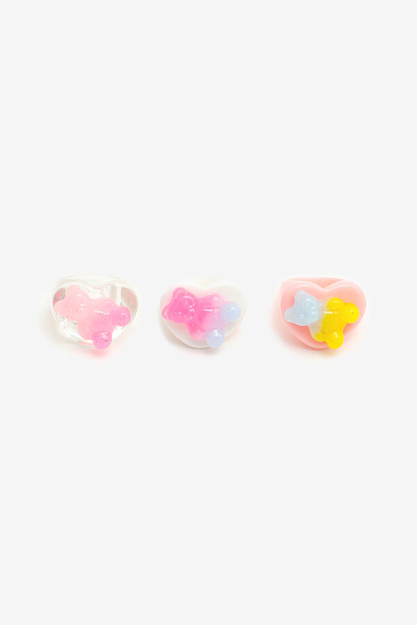 3-Pack Heart-Shape Rings with Gummy Bears