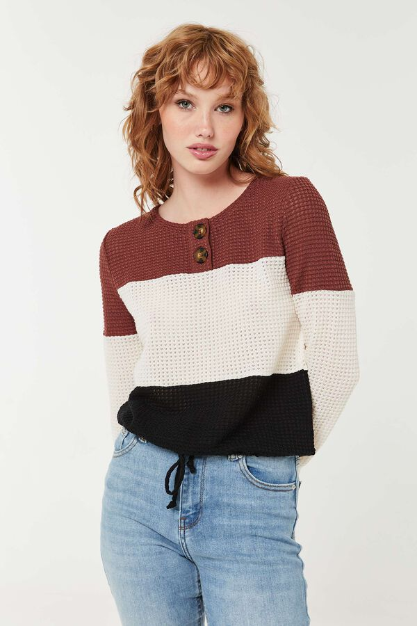 Chandail en tricot gaufré à cordon
