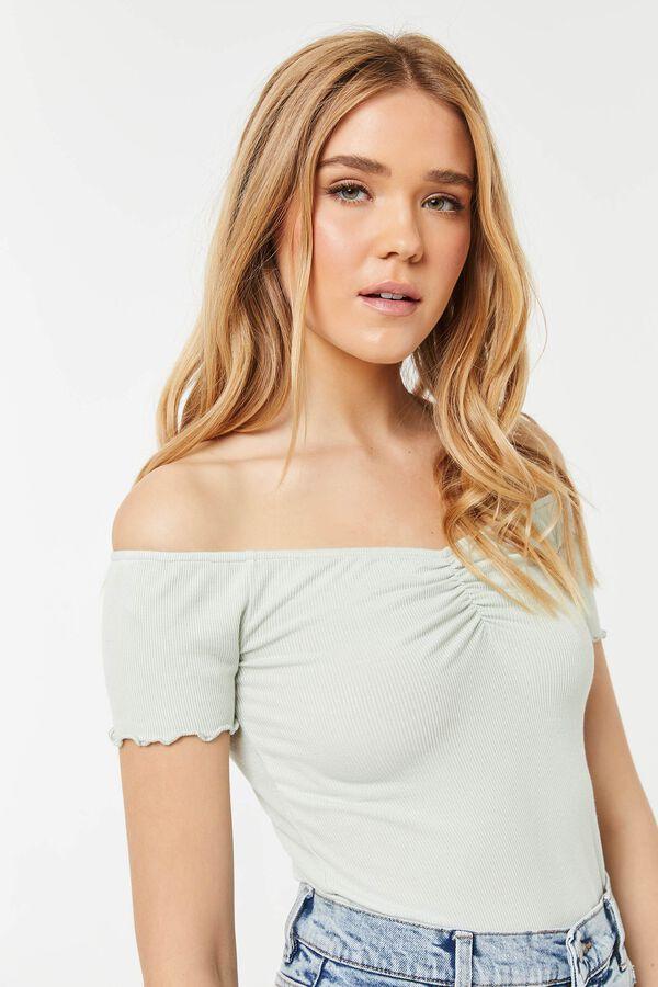 Ribbed Bardot Top with Front Shirring