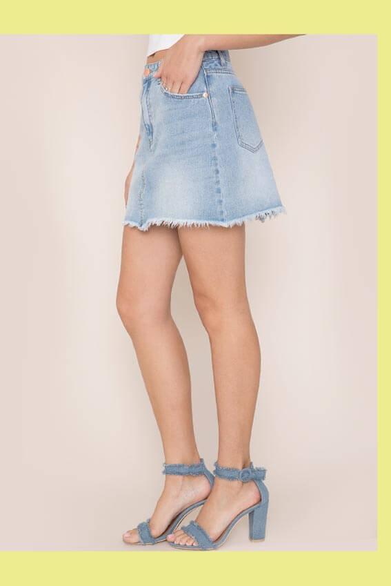 Kendall & Kylie Cut Off Denim Mini Skirt