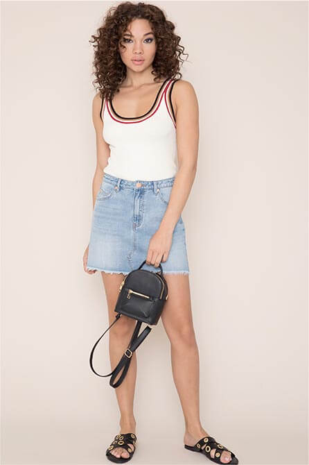 Kendall & Kylie Ribbed Retro Tank Top