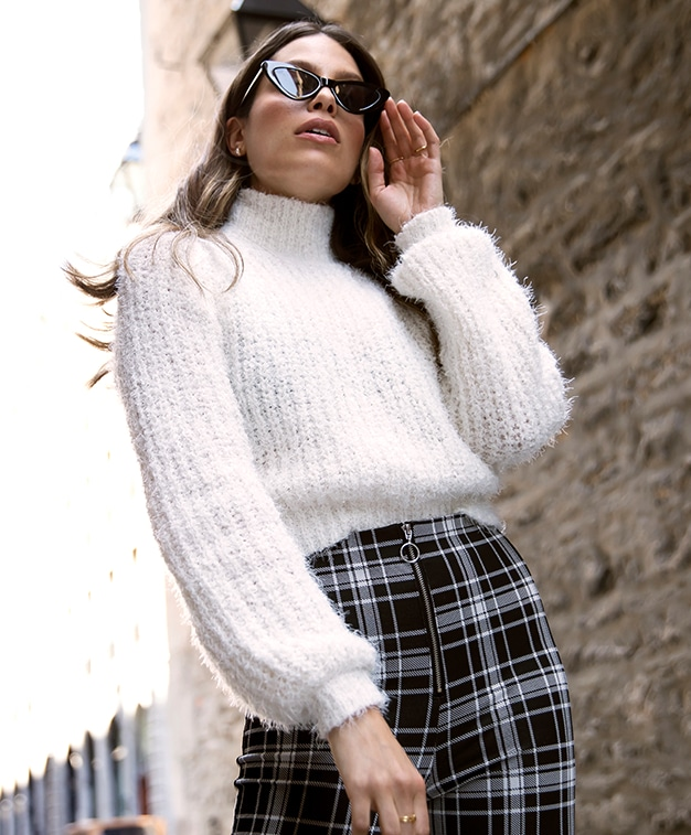Kendall & Kylie fuzzy mock neck sweater with plaid pants