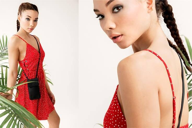 Kendall & Kylie Polka Dot Laced Mini Dress