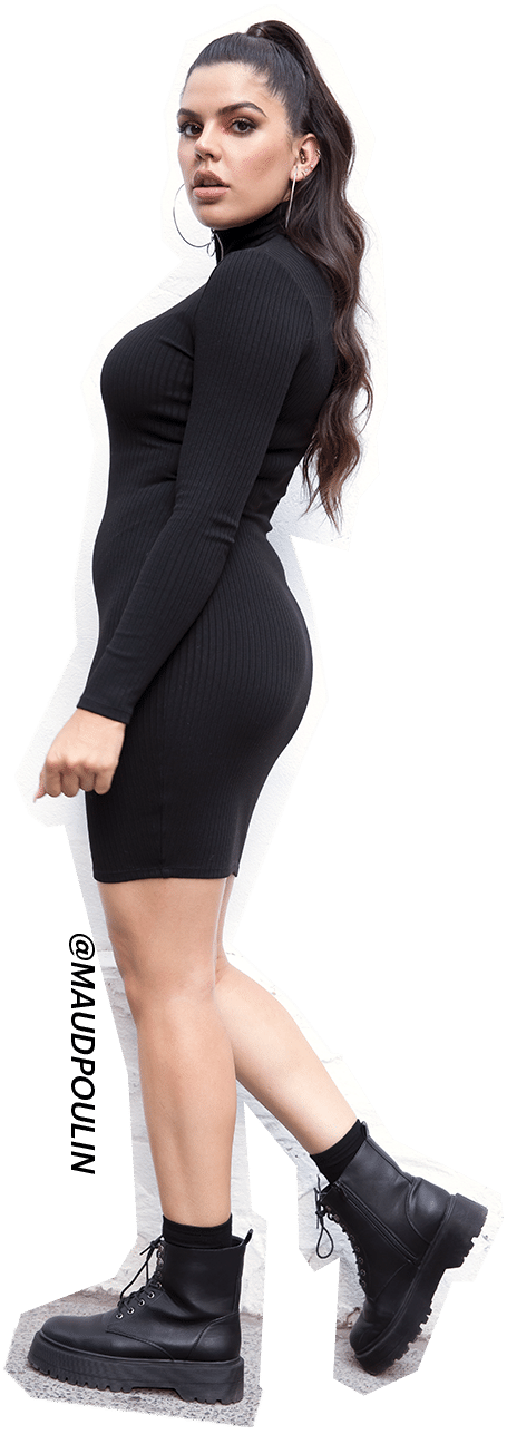 Kendall & Kylie bodycon mock neck dress with combat boots