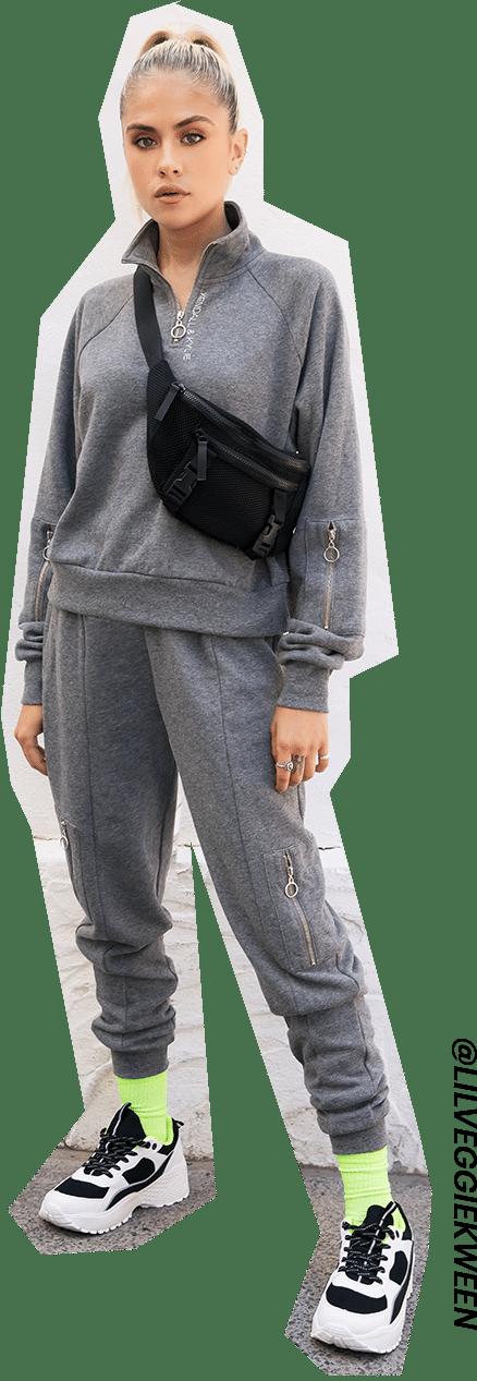 Kendall & Kylie mock neck sweatshirt with zip joggers