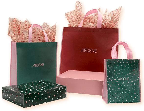 Ardene Foundation gift wrapping, boxes and bags