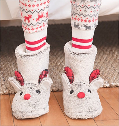 Fuzzy reindeer bootie slippers from Ardene