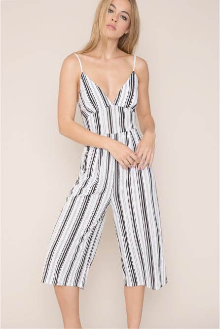 Kendall & Kylie Striped Culotte Jumpsuit