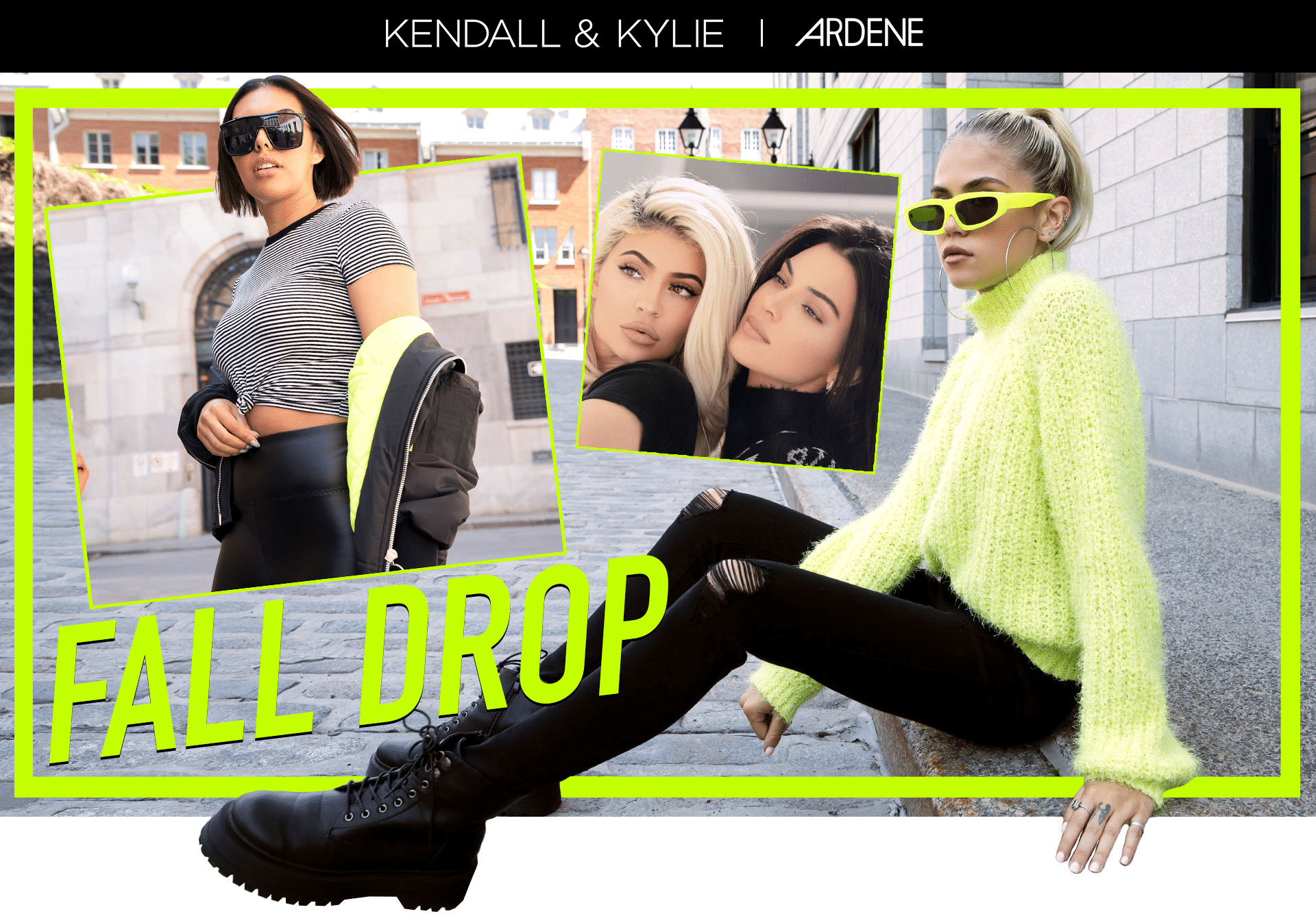 Kendall & Kylie striped tee, leather leggings and sunglasses and Neon Kendall & Kylie sweater with ripped jeans and combat boots