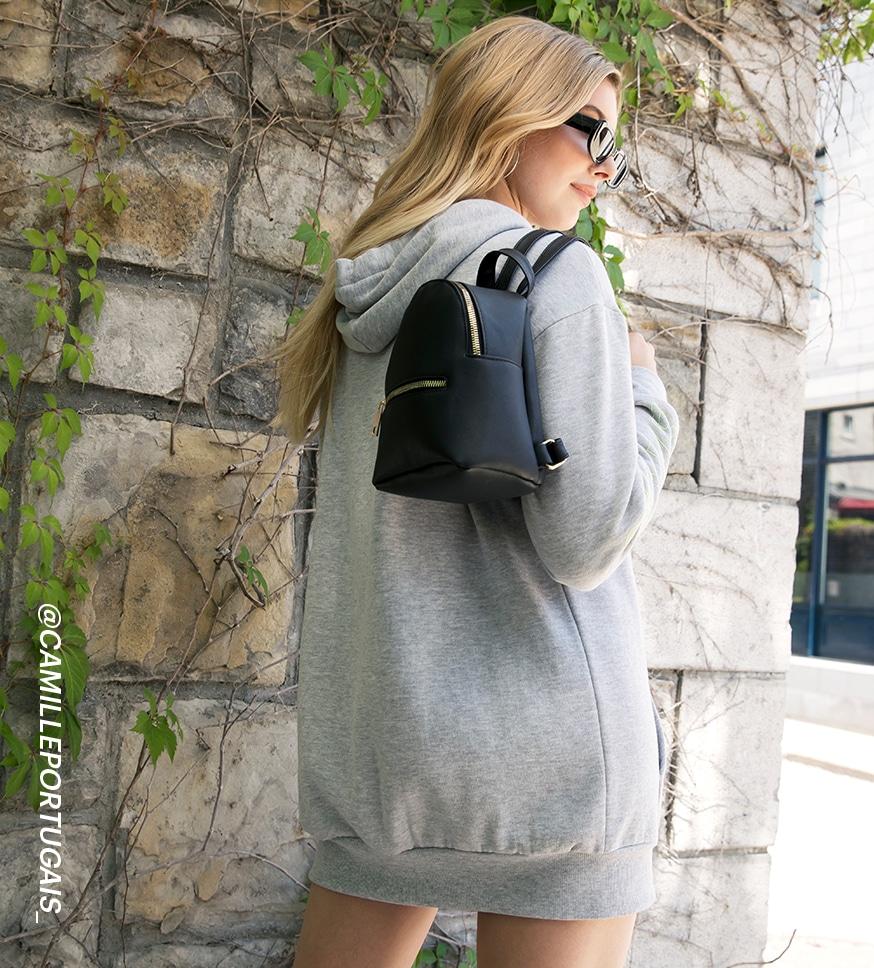 Kendall & Kylie oversized fleece hoodie dress with mini backpack