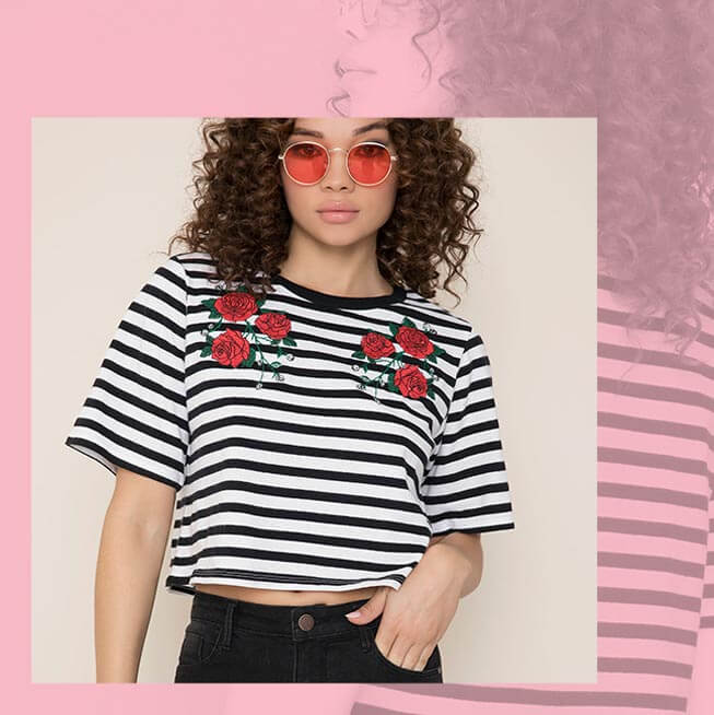Kendall & Kylie Striped Embroidered Crop Tee