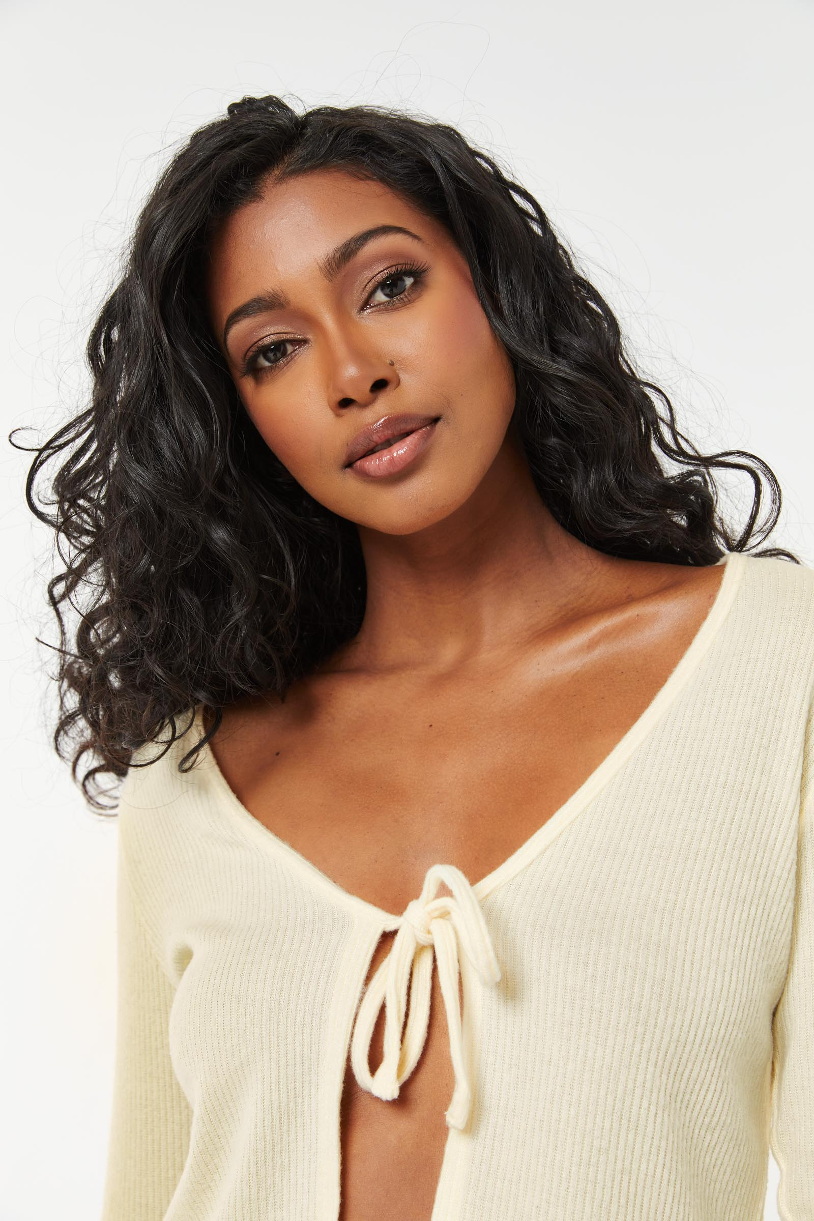 Tie Front Ribbed Cardigan