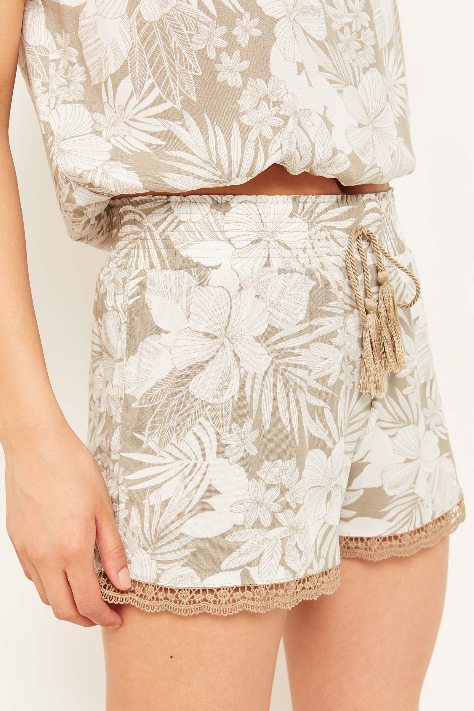 Floral Smocked High Rise Shorts