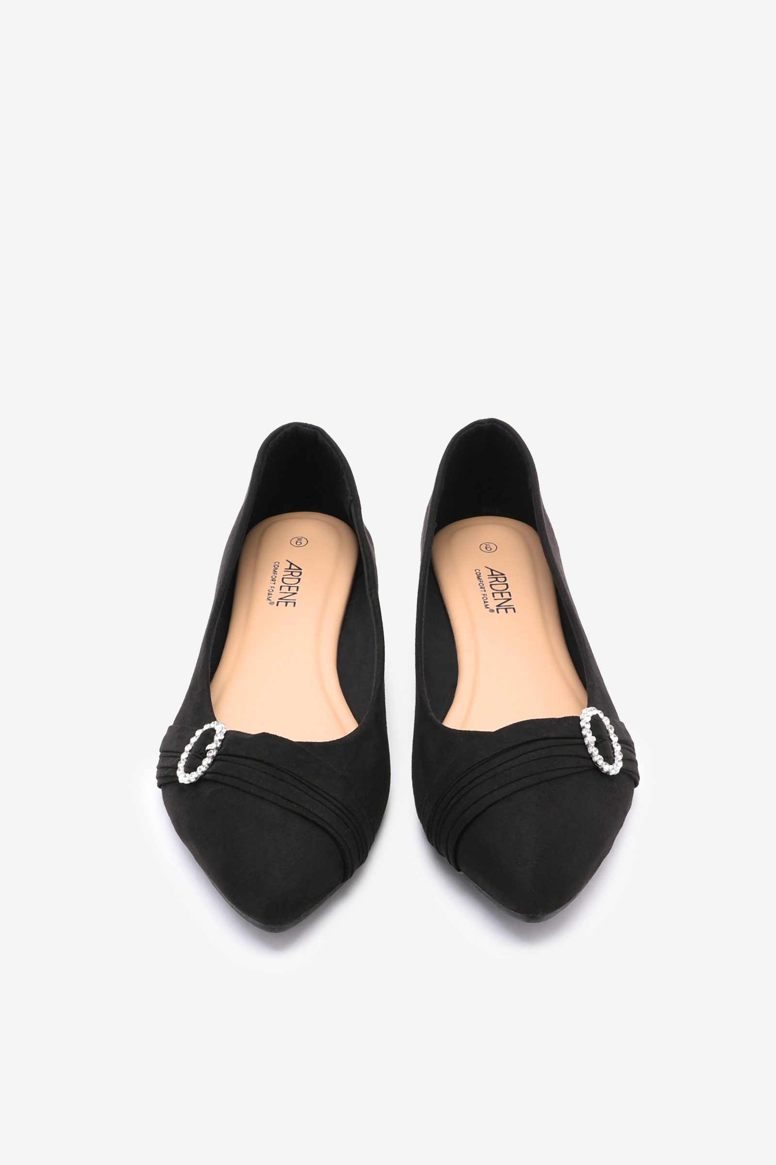 Pleated Brooch Ballerina Flats
