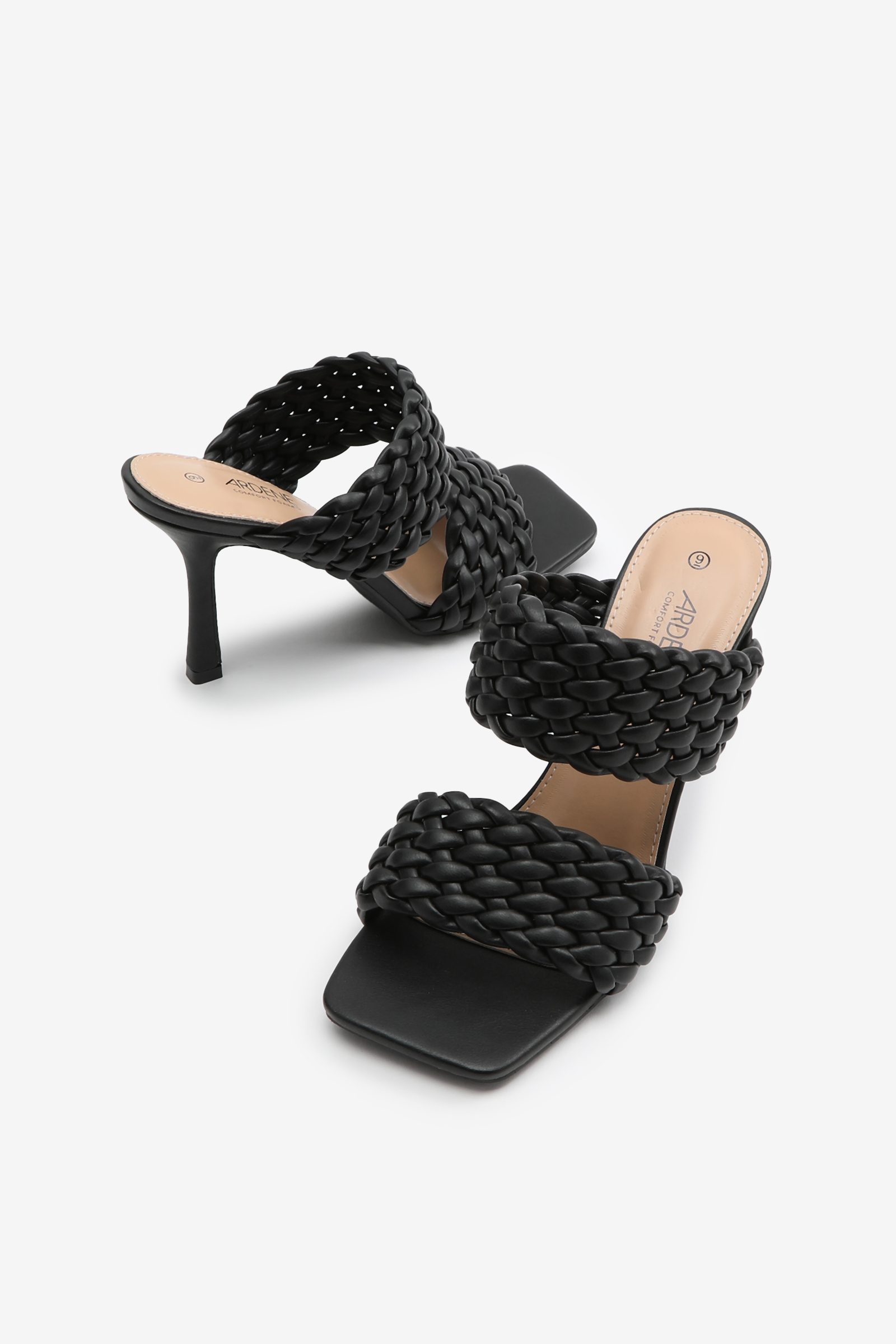 Quilted Square Heeled Mules