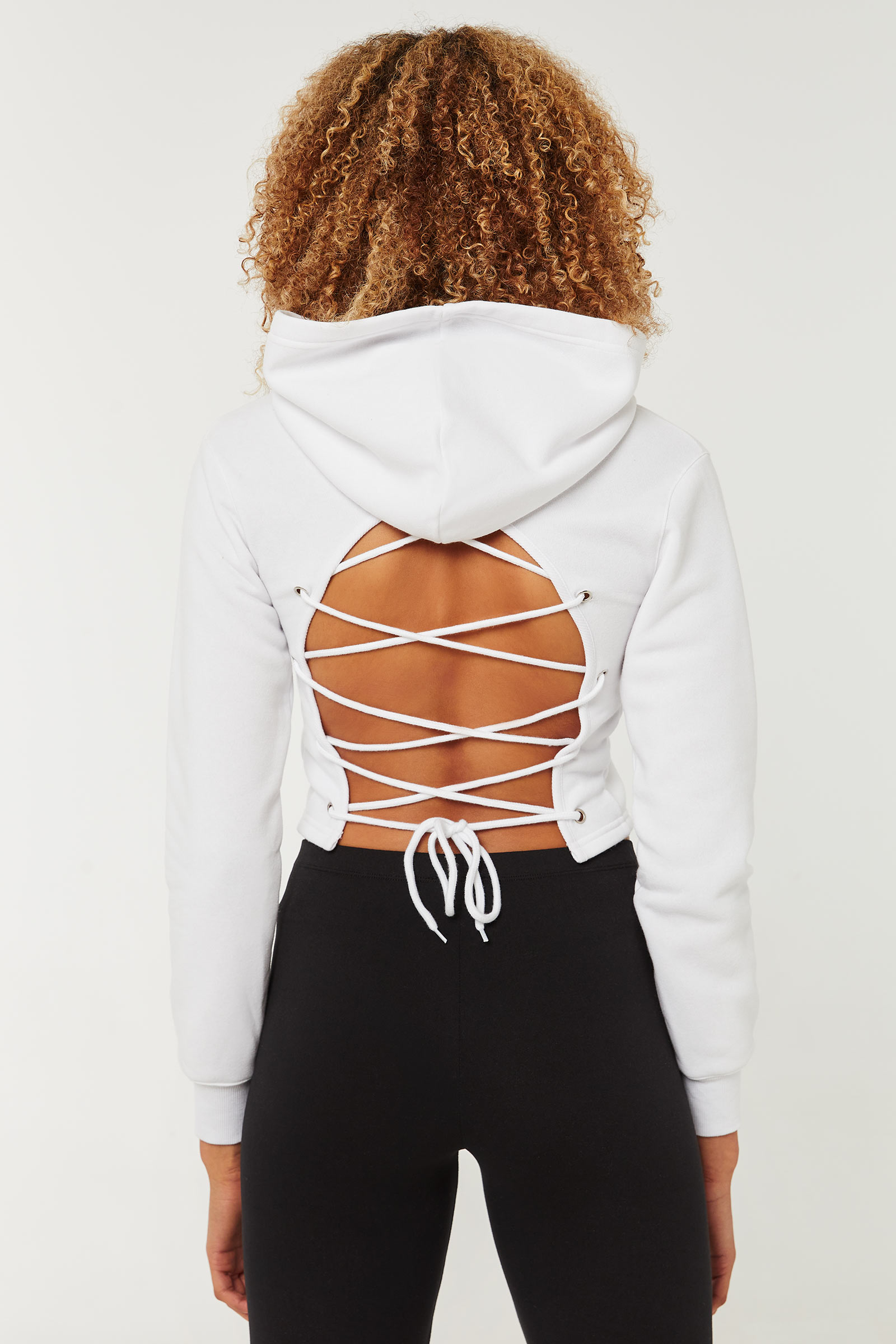 Hoodie with Lace-Up Back