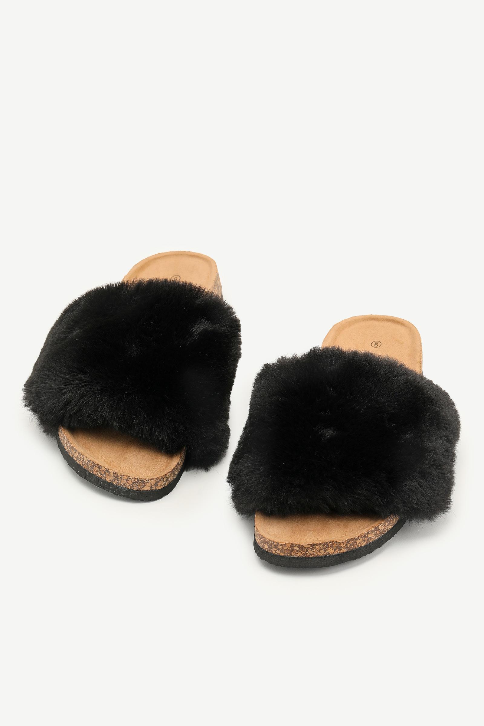 Faux Fur Cork Slide Sandals