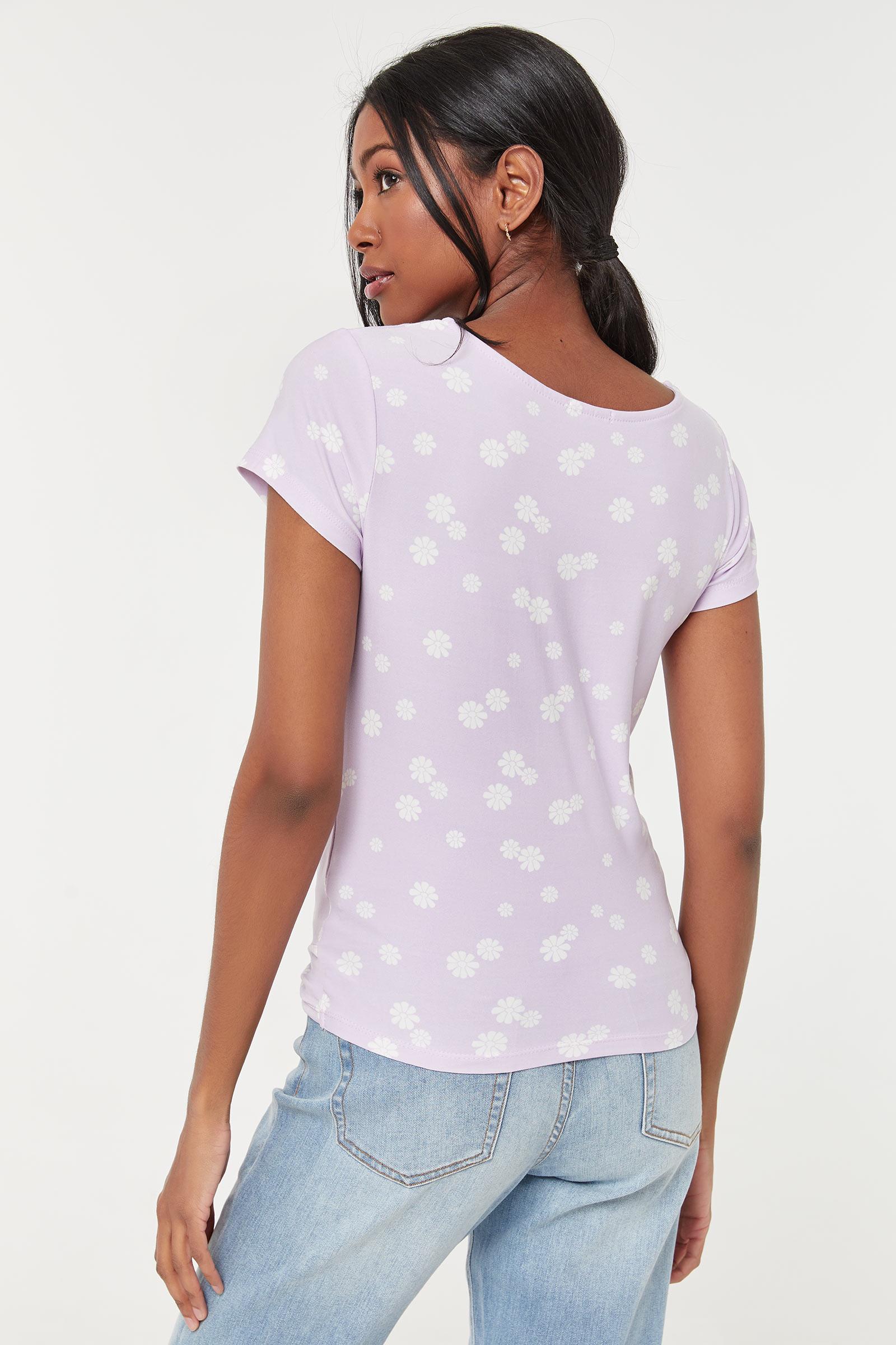Floral Lavender Twisted T-shirt