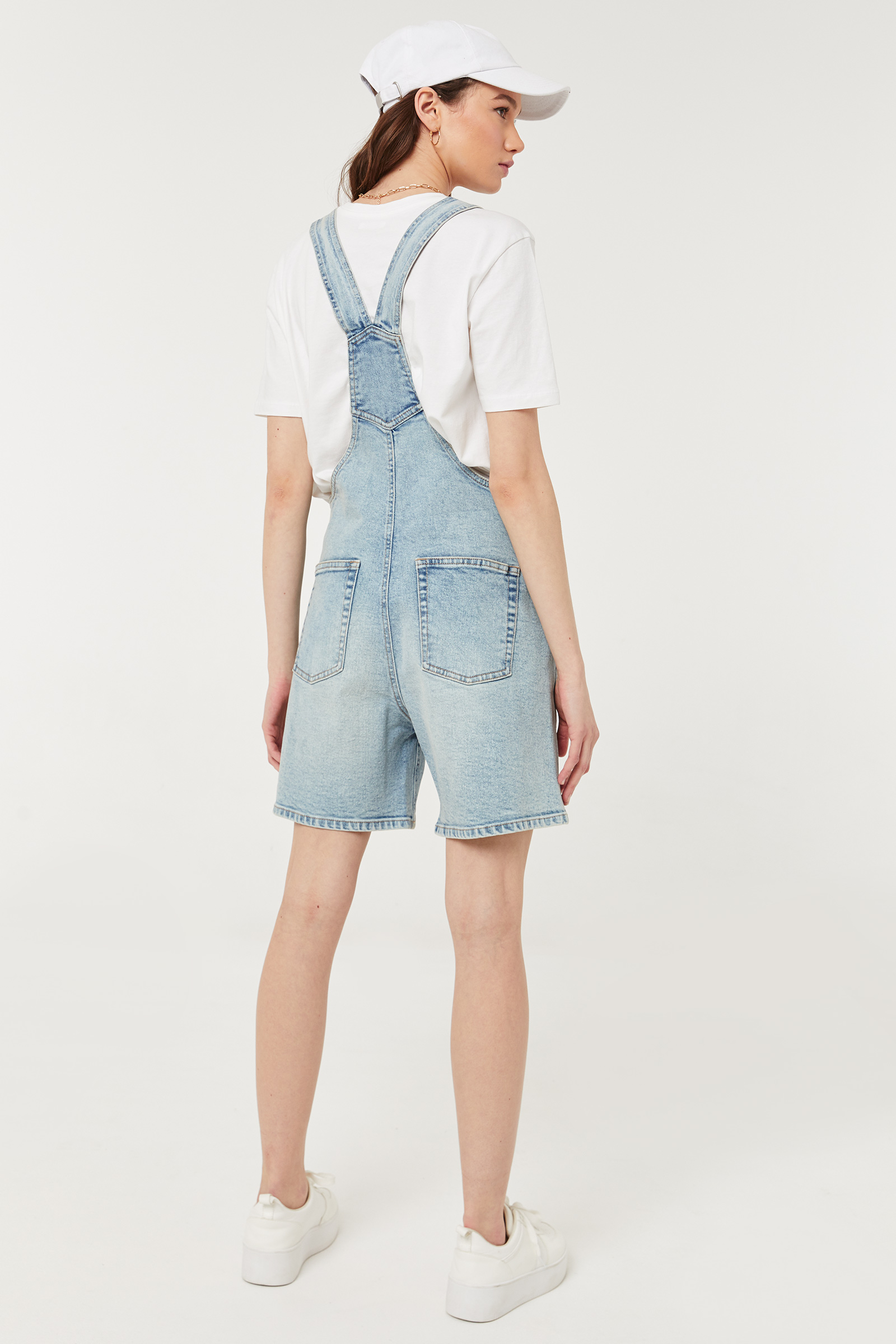 Cuffed Jean Short Overalls