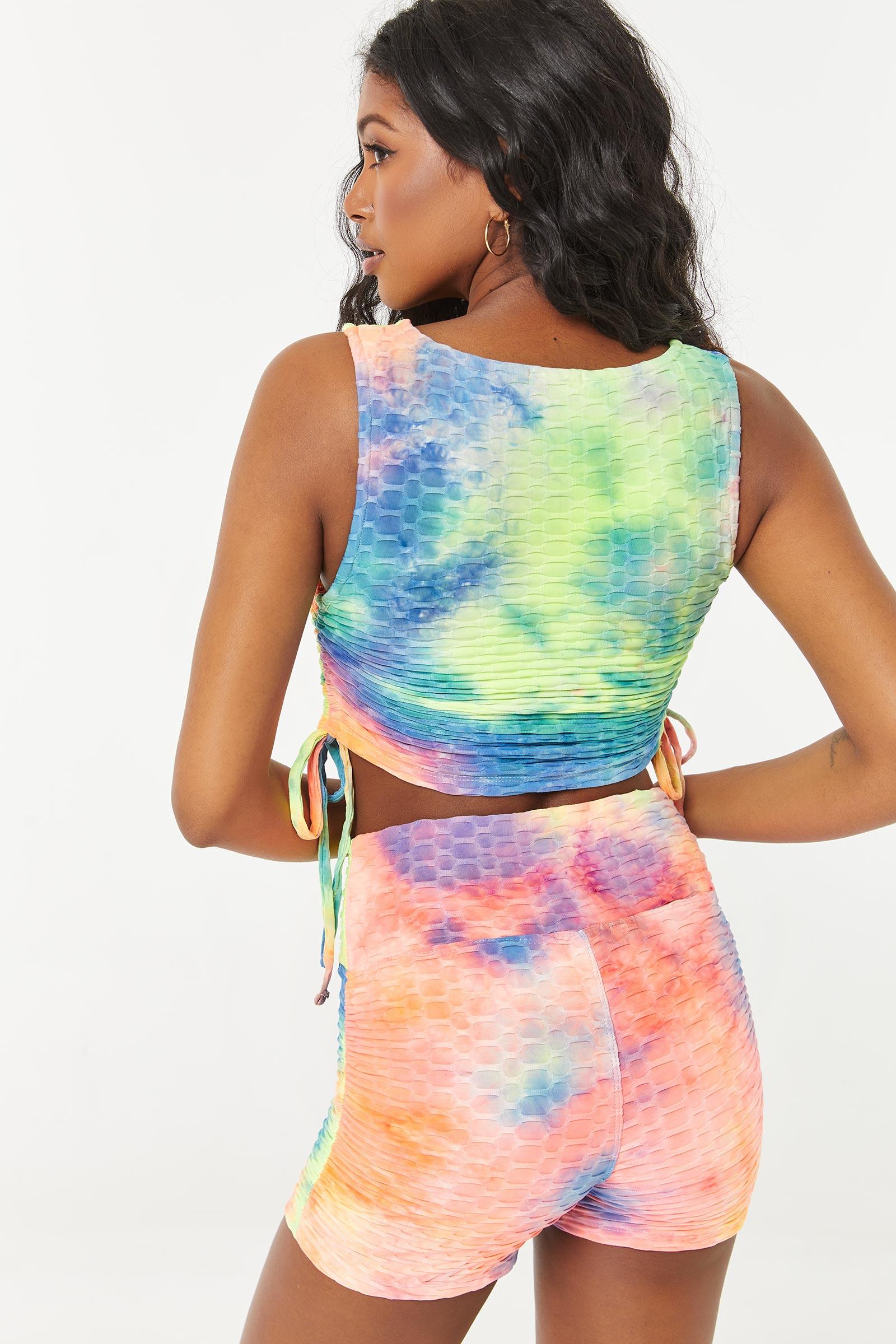 Multicoloured Honeycomb Biker Shorts