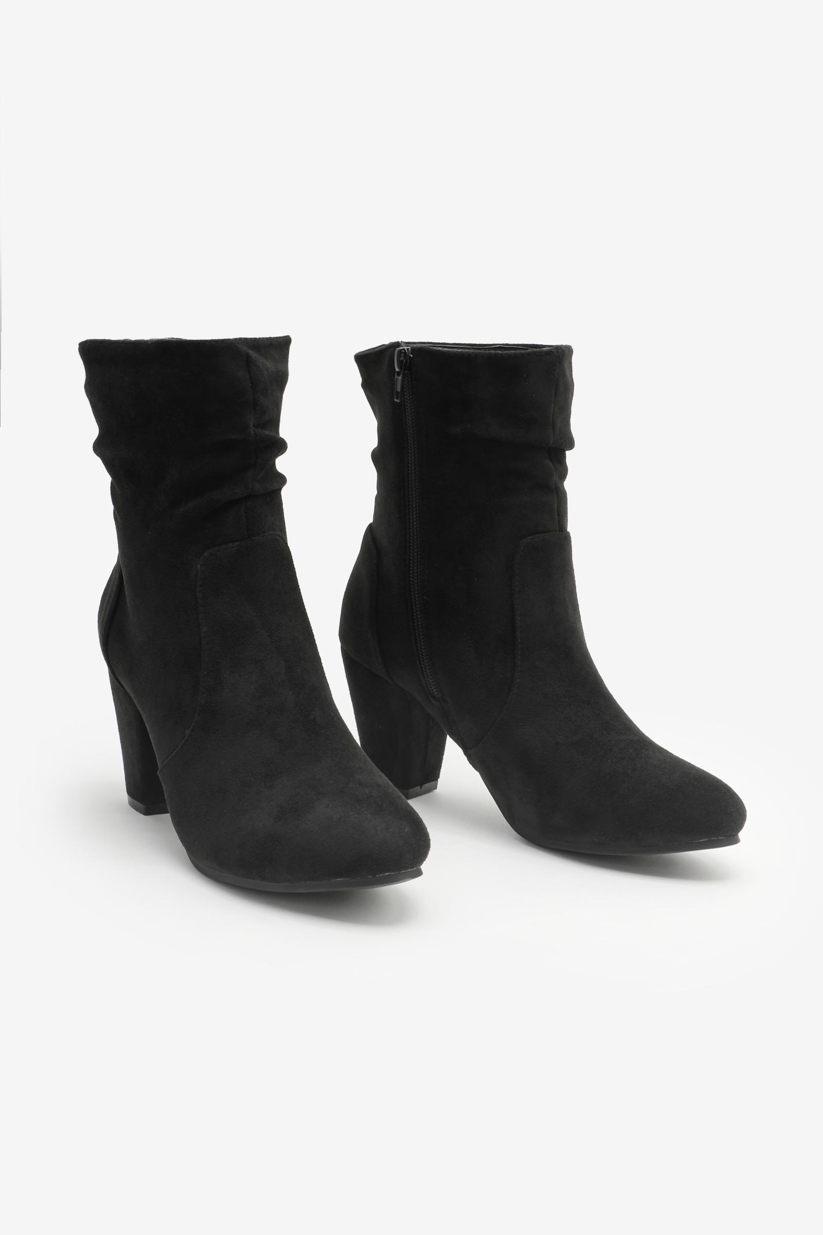 Faux Suede Block Heel Boots