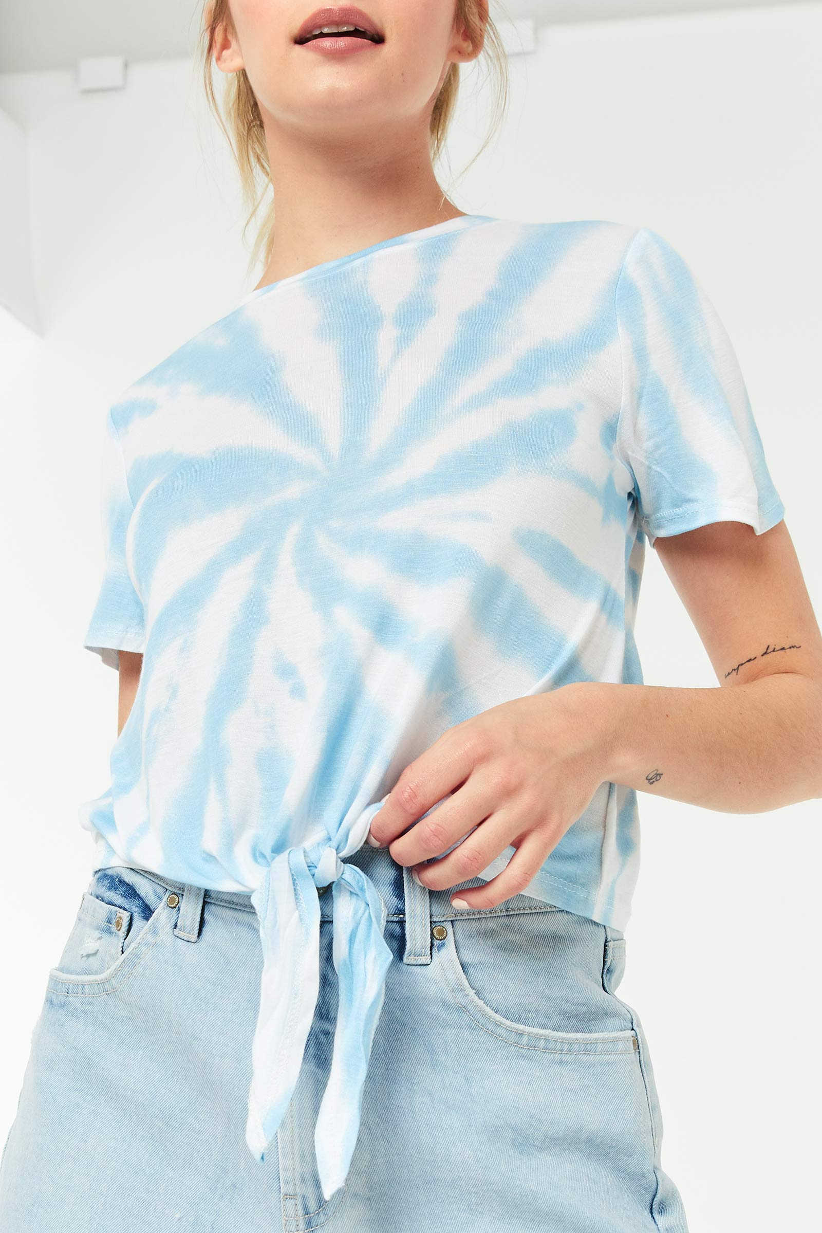 Spiral Tie-Dye Front Tie Top
