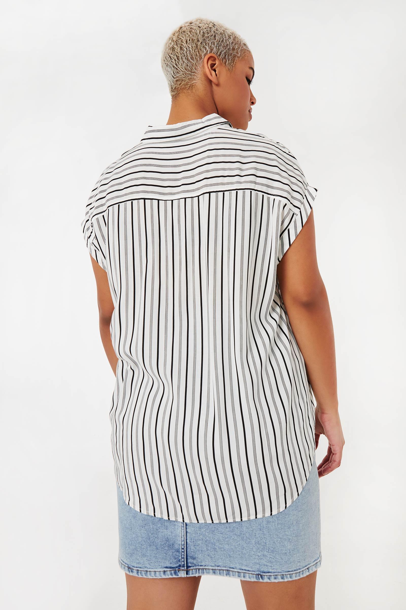 Plus Size Striped Button-Up Shirt
