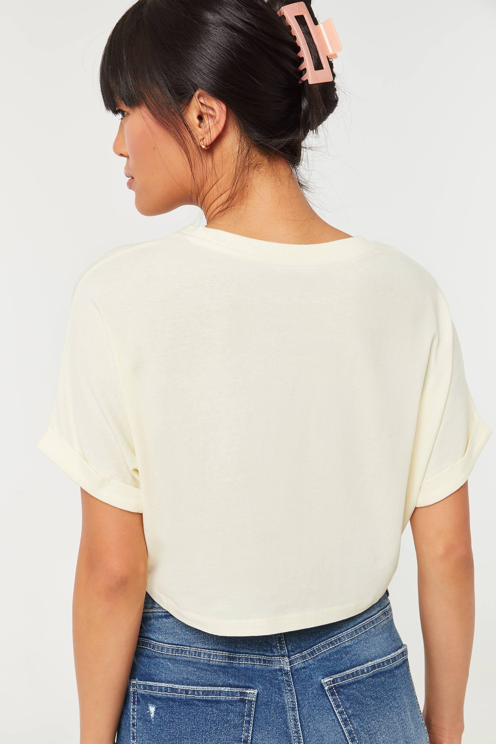 T-shirt écourté carré Basic