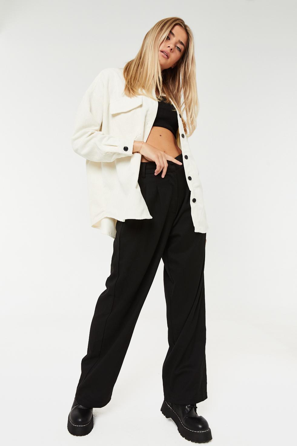 Veste-chemise ample en velours côtelé