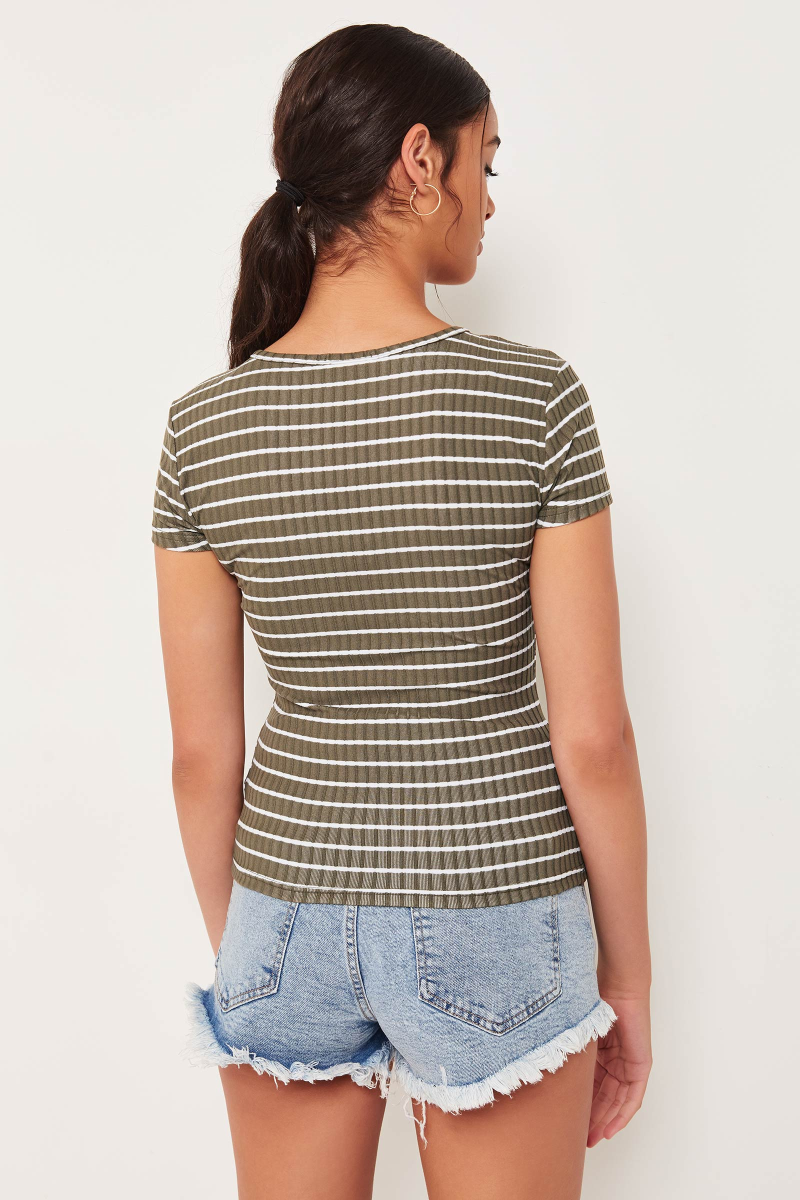 Lace-Up Ribbed Tee