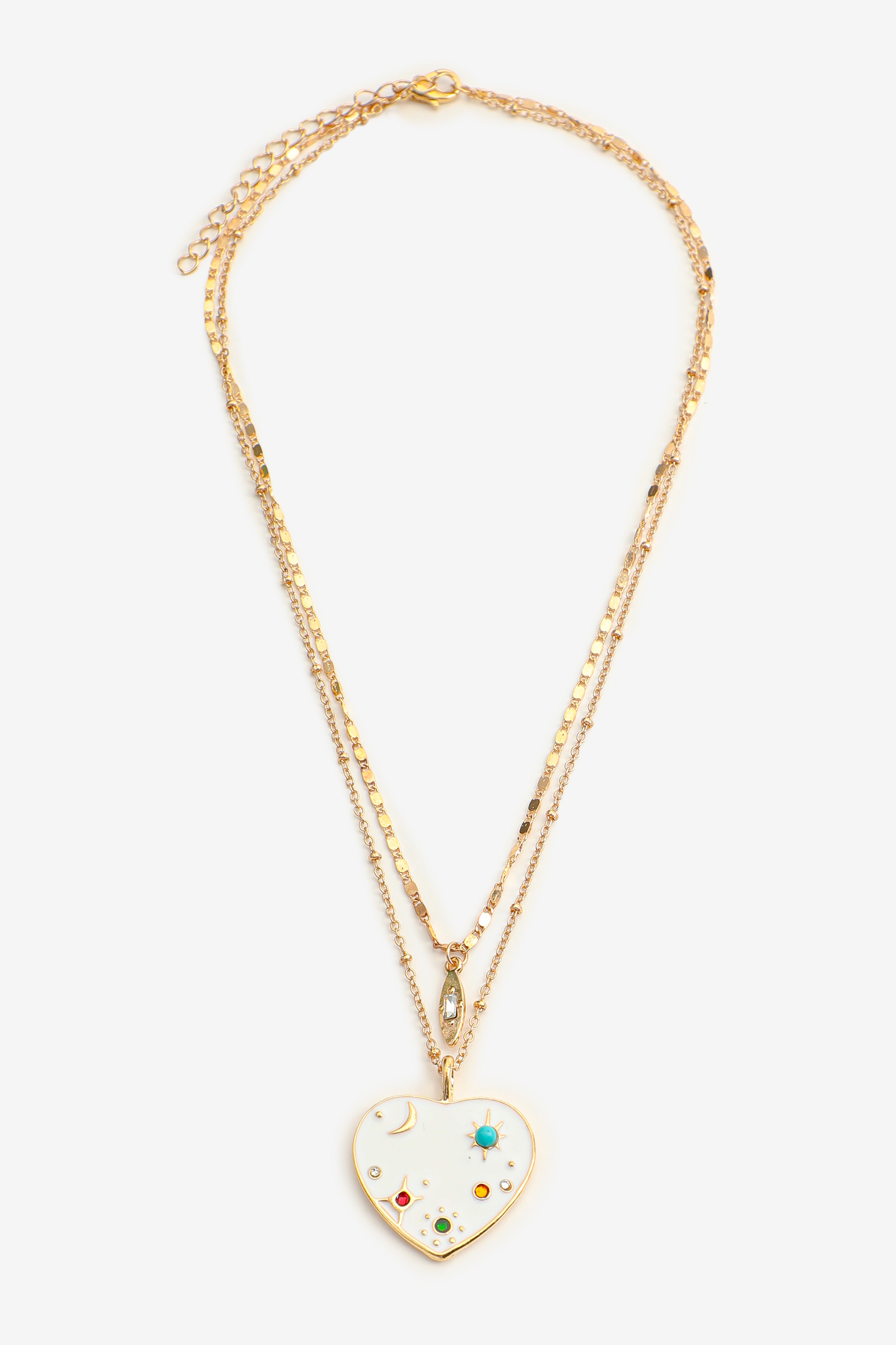 Layered Heart Charm Necklace