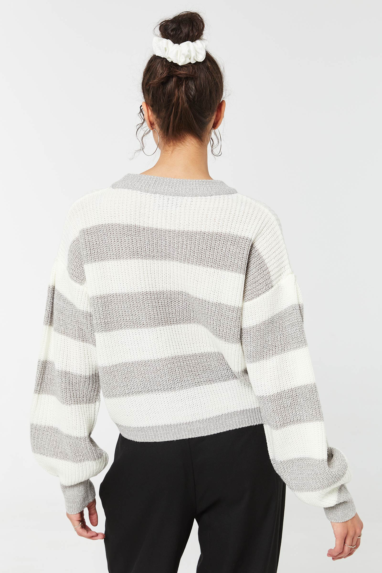 Striped Bubble-Sleeved Sweater
