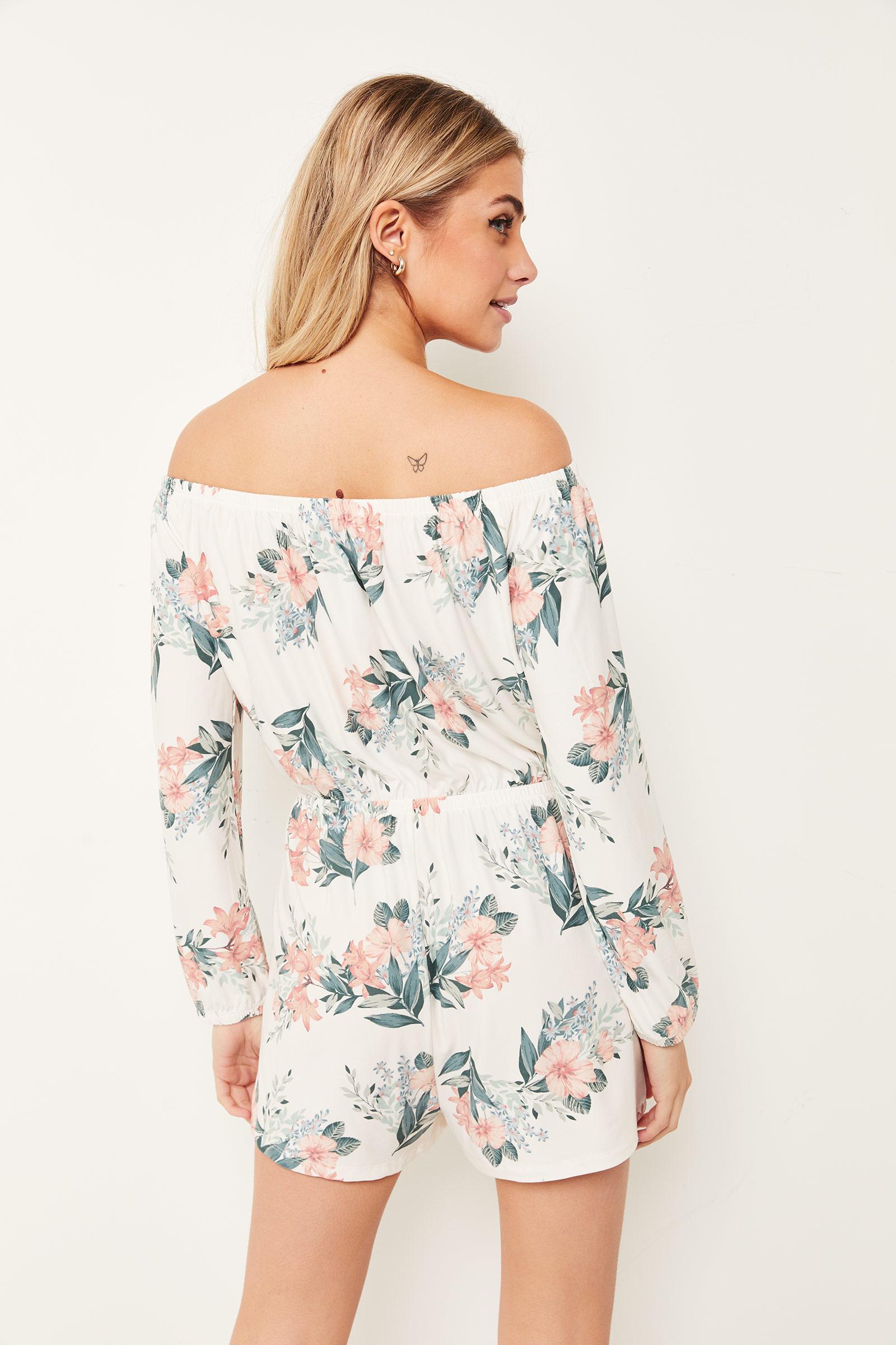 Basic Off Shoulder Floral Romper