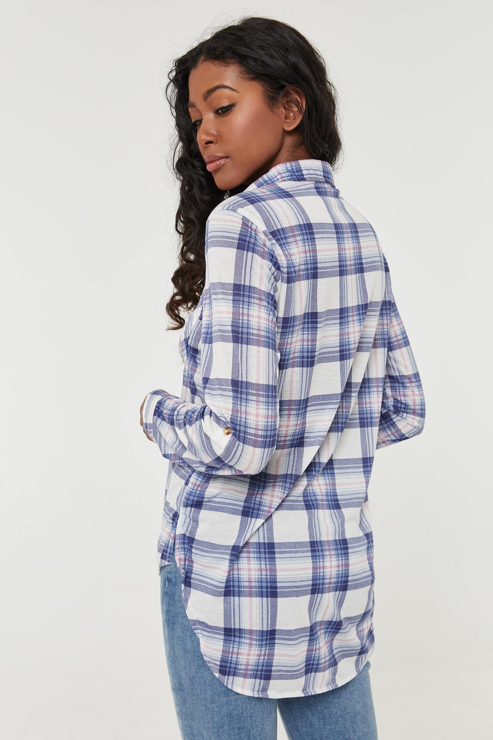 Buttoned Dip Hem Shirt