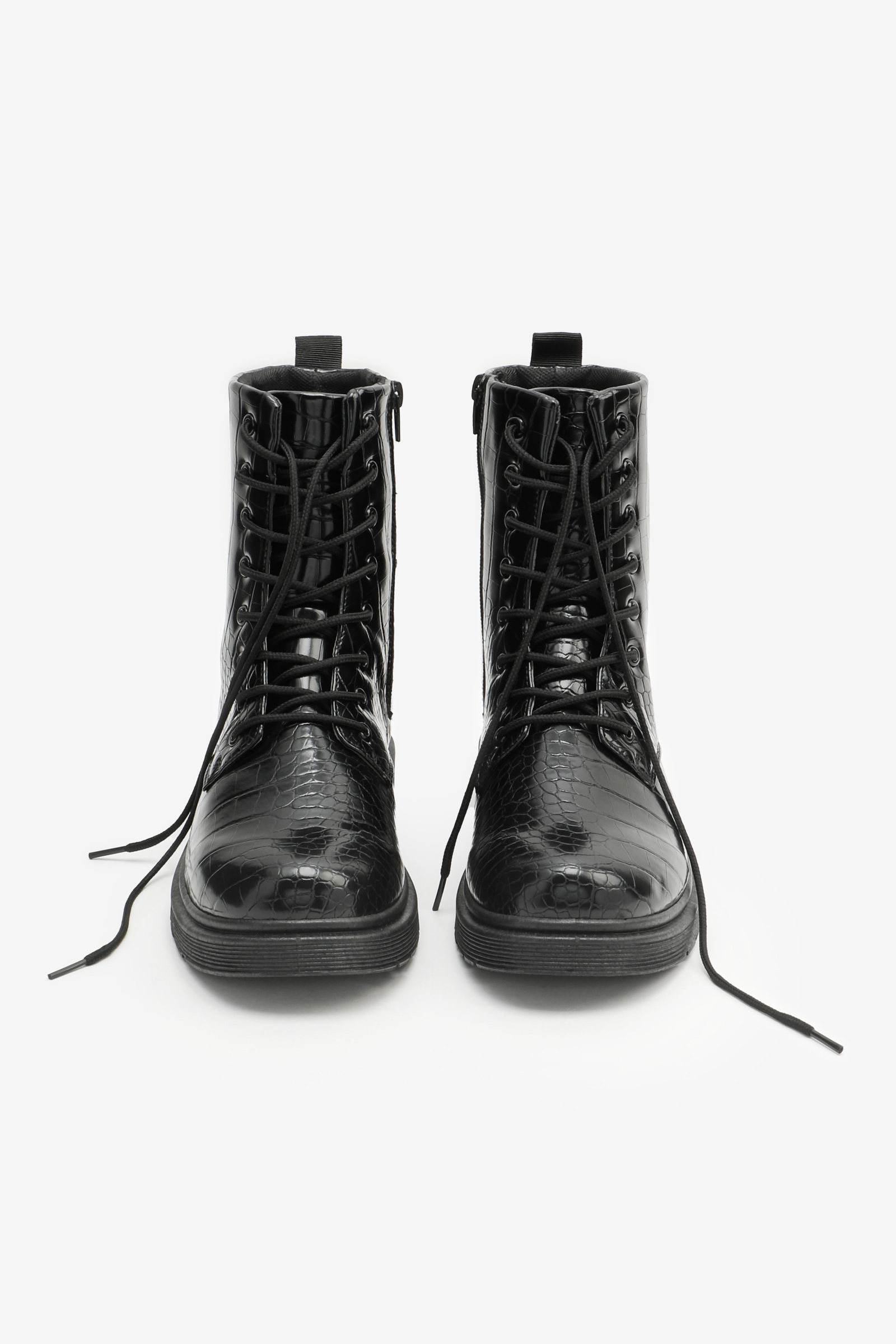 Croco Combat Boots with Injected Sole