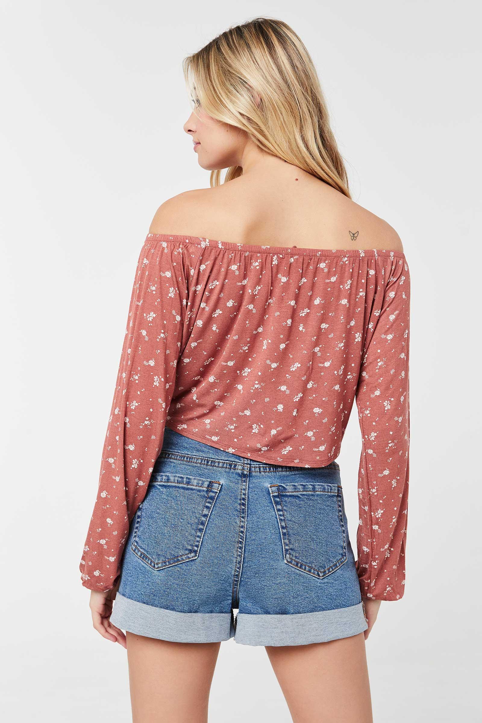 Off Shoulder Long-sleeved Floral Top
