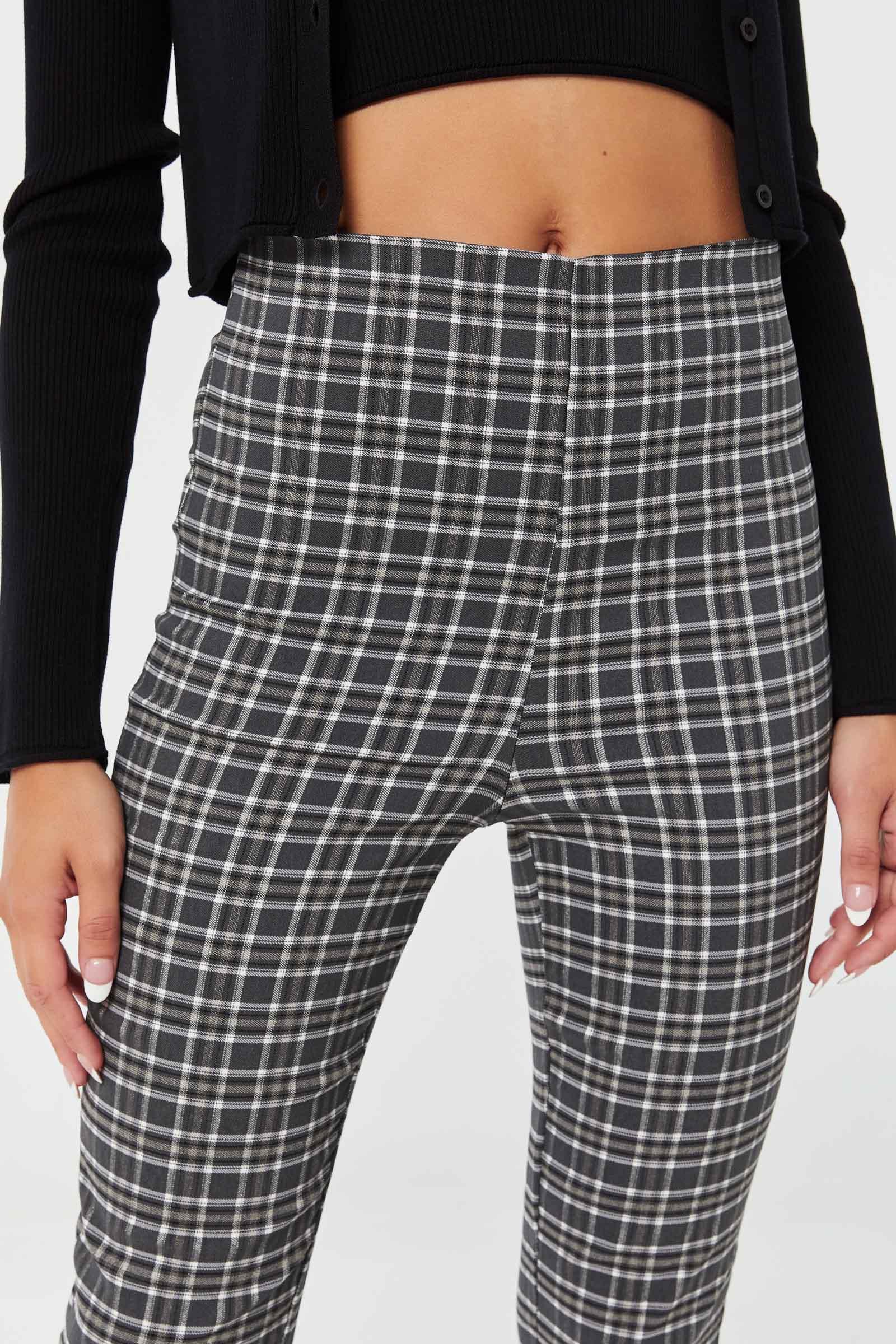 Pantalon jambe droite à carreaux en bengaline