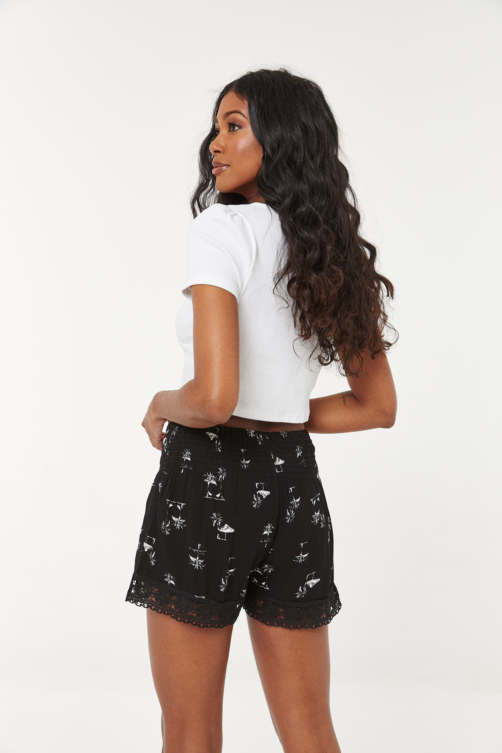 Smocked Crochet Shorts
