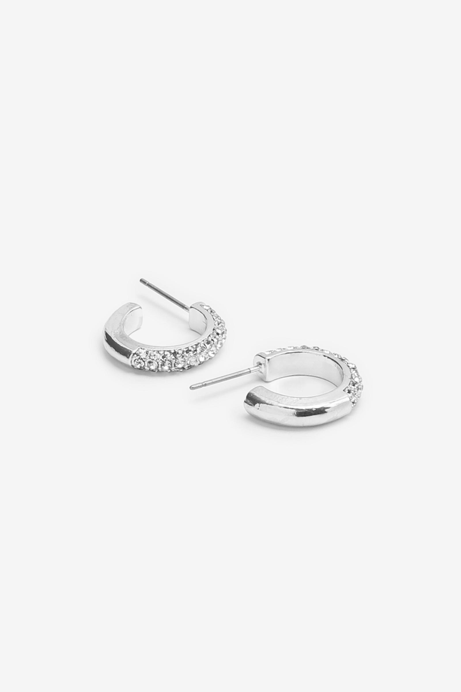 Open Hoop Earrings with Stones
