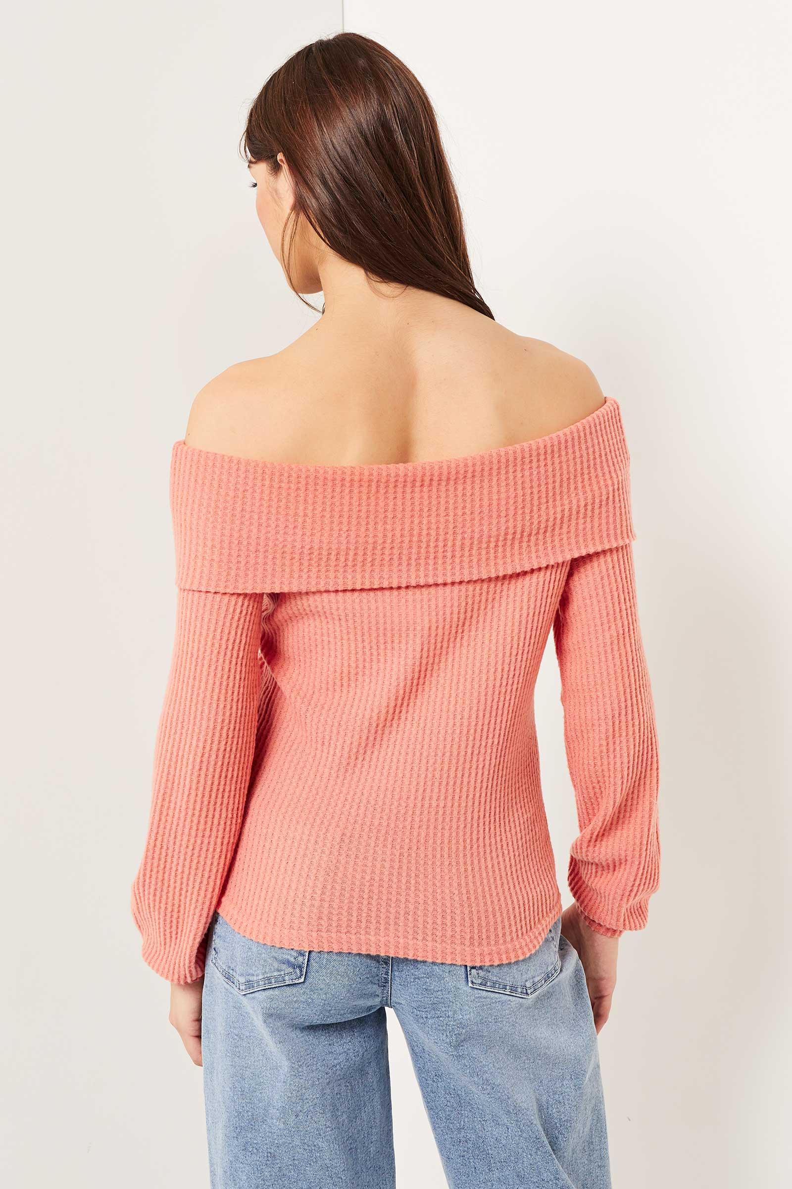 Waffle Knit Off Shoulder Sweater