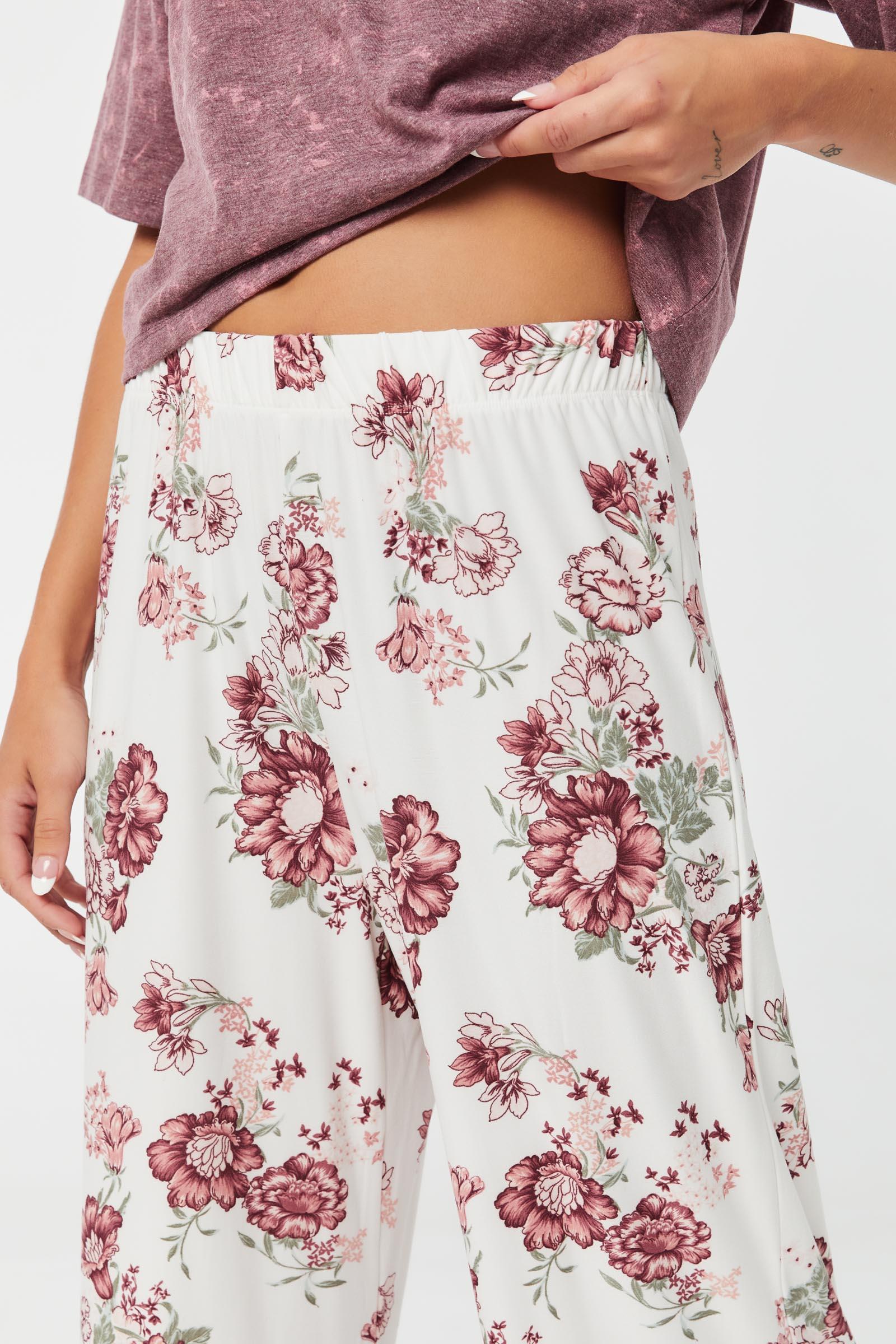 Pantalon pyjama évasé détente fleuri