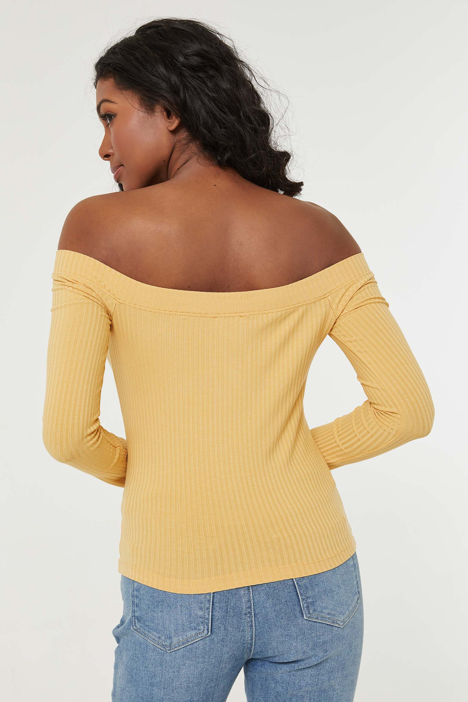 Off-Shoulder Buttoned Collar Top