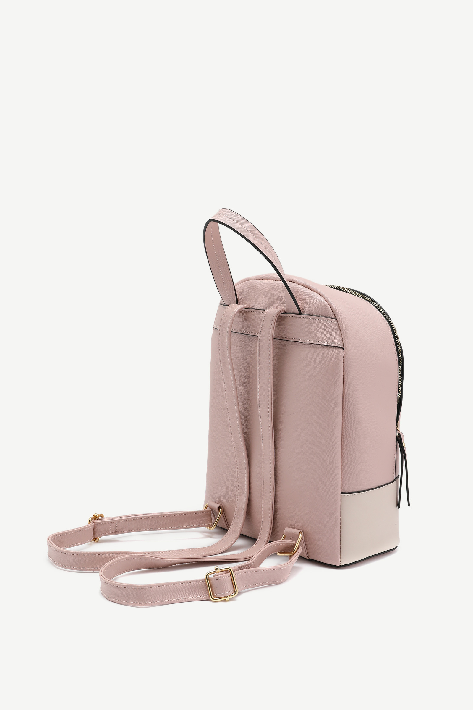 Faux Leather Color Block Backpack