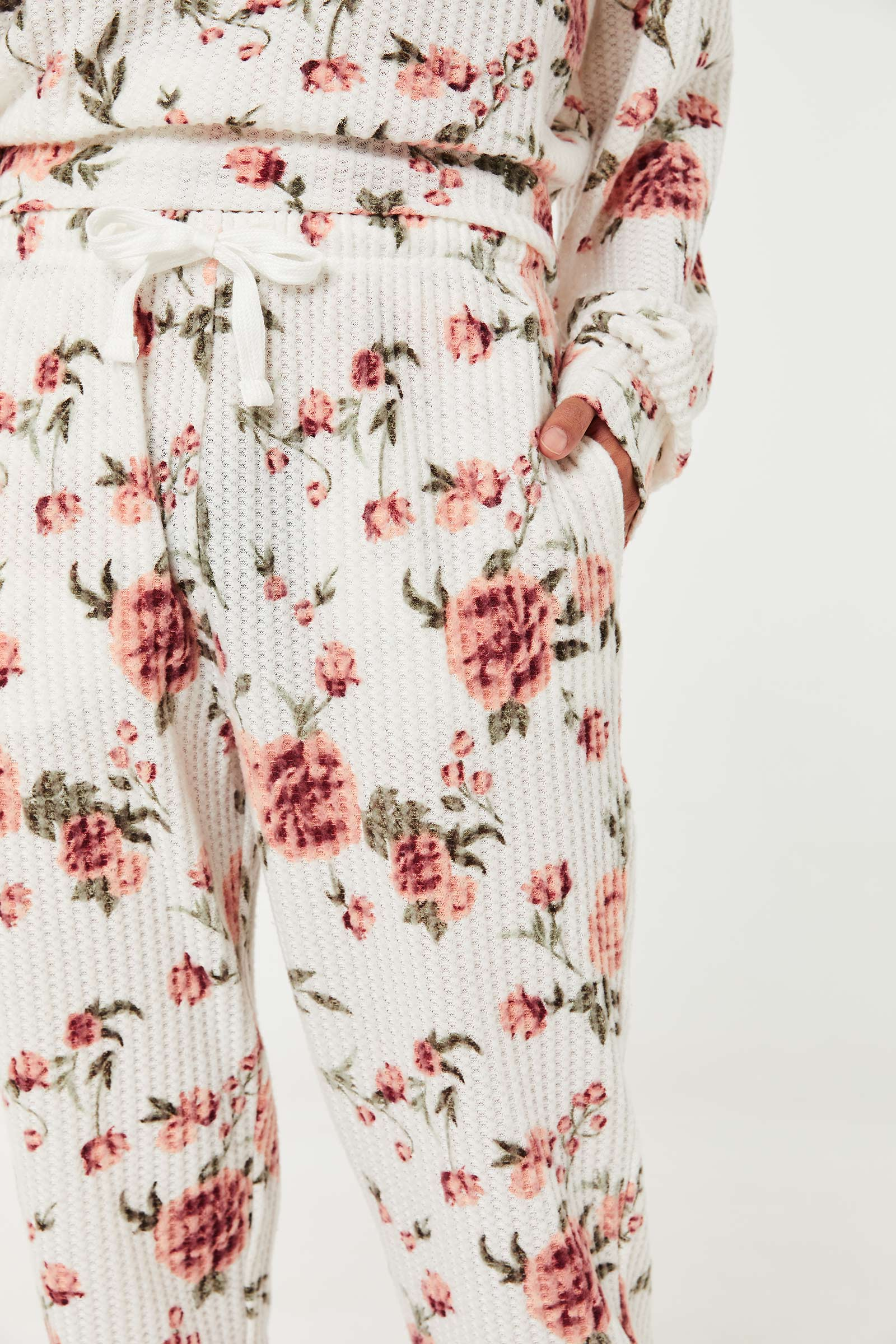 Floral Waffle Knit Joggers