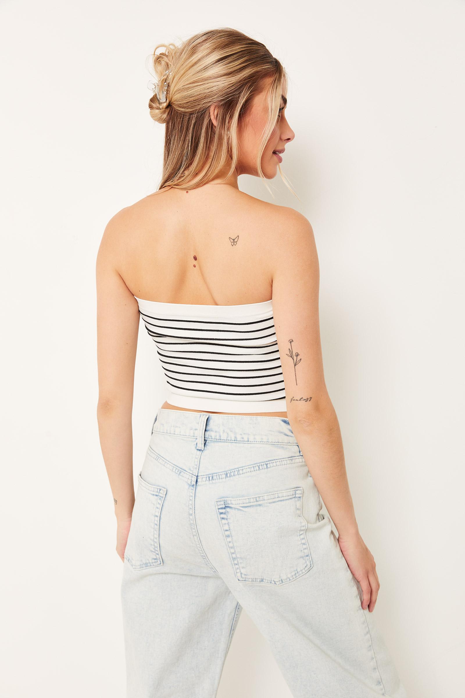 Basic Striped Crop Tube Top