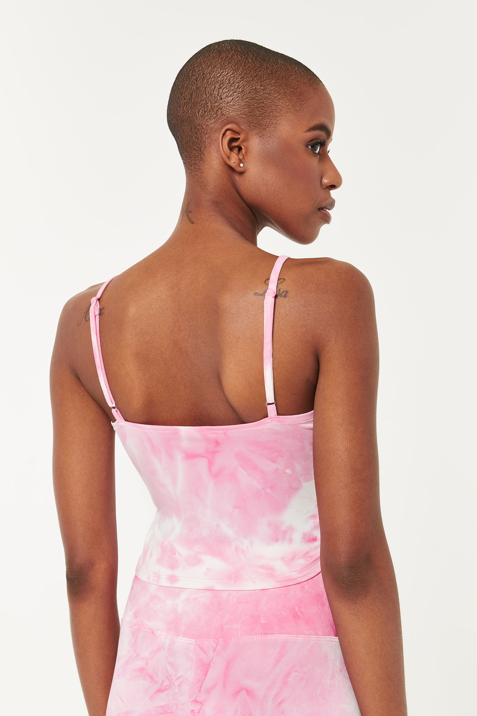 Tie-Dye Ruched Ultra Cropped Tank Top