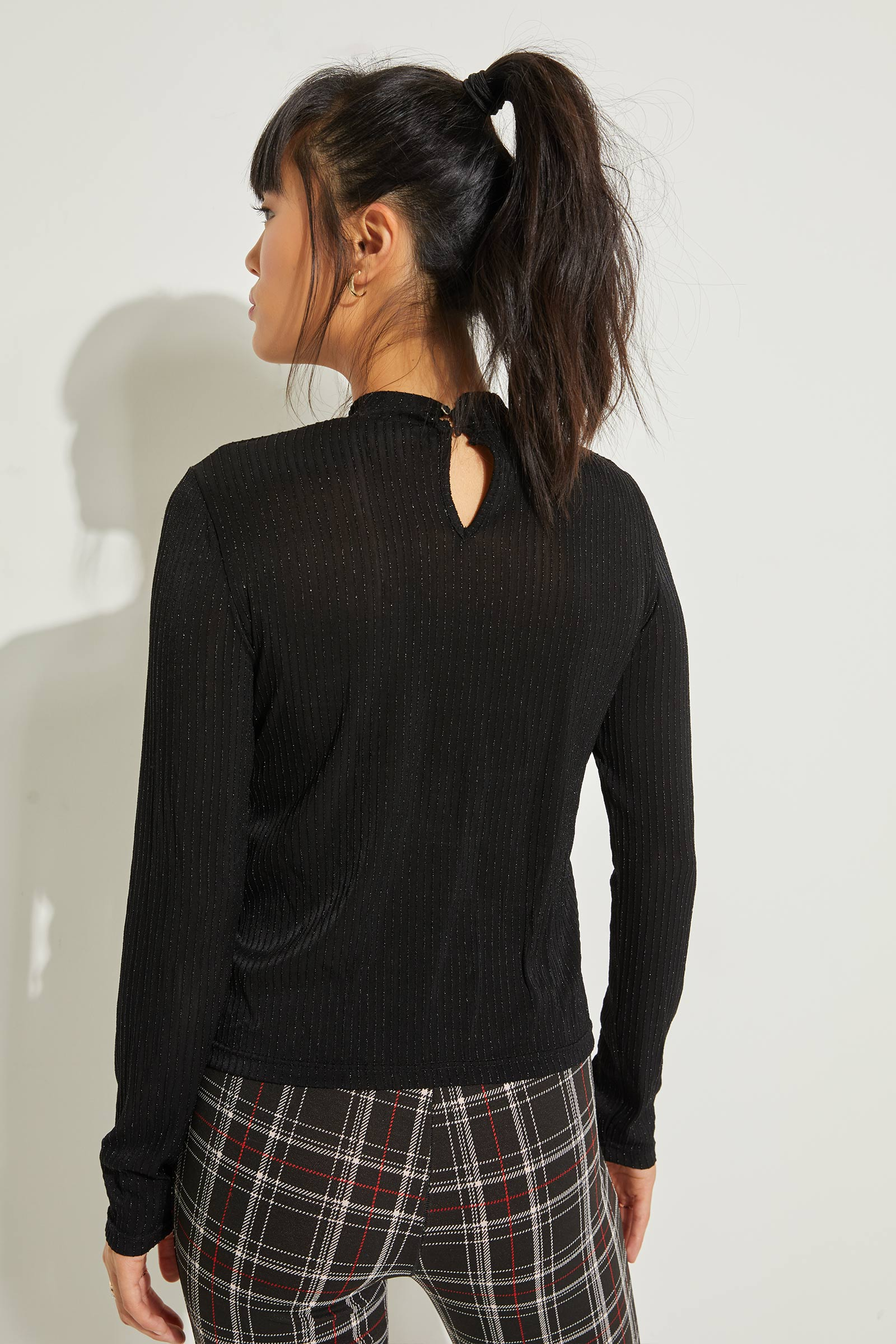 A.C.W. Sparkly Mock Neck Top