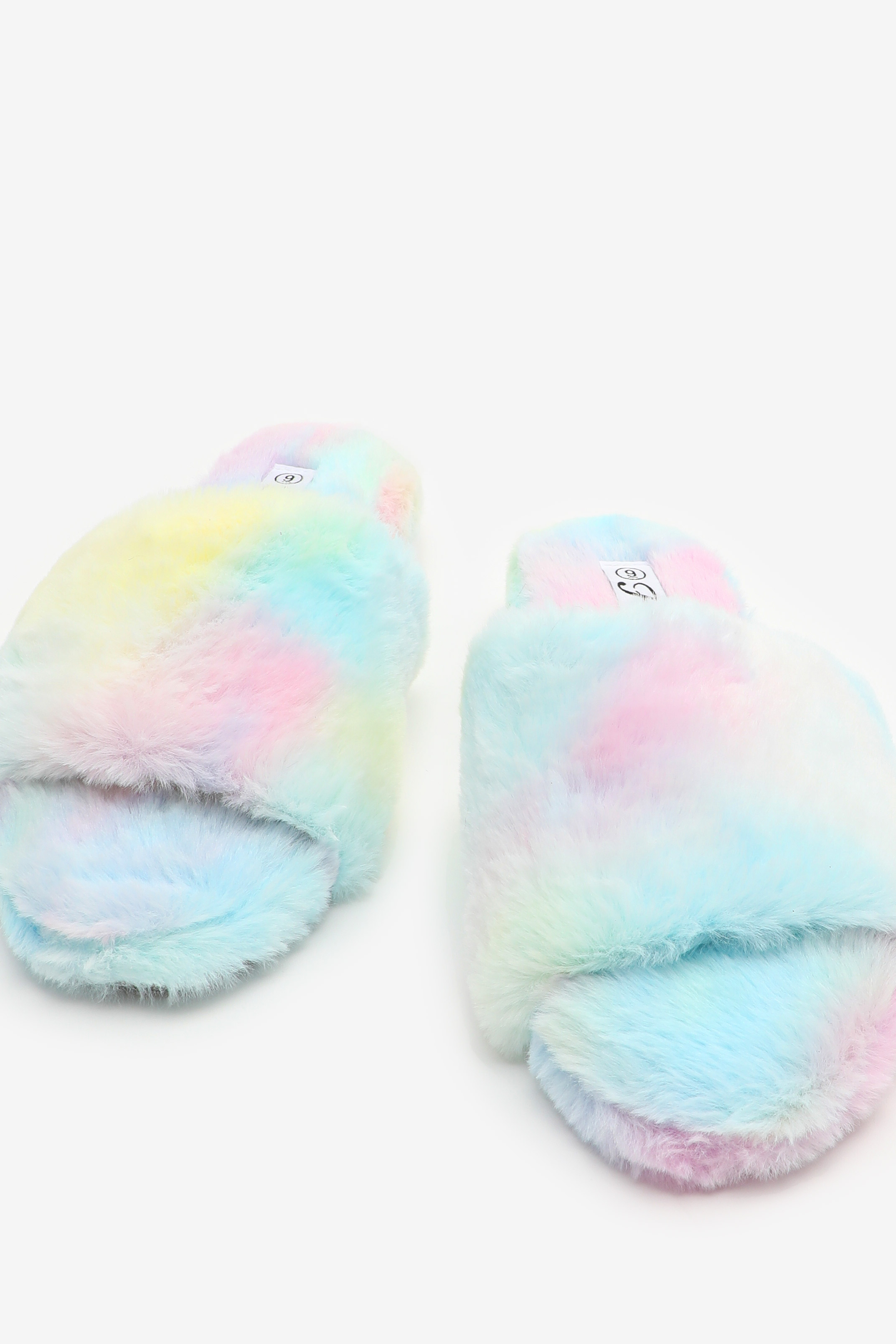 Faux Fur Tie-Dye Slippers