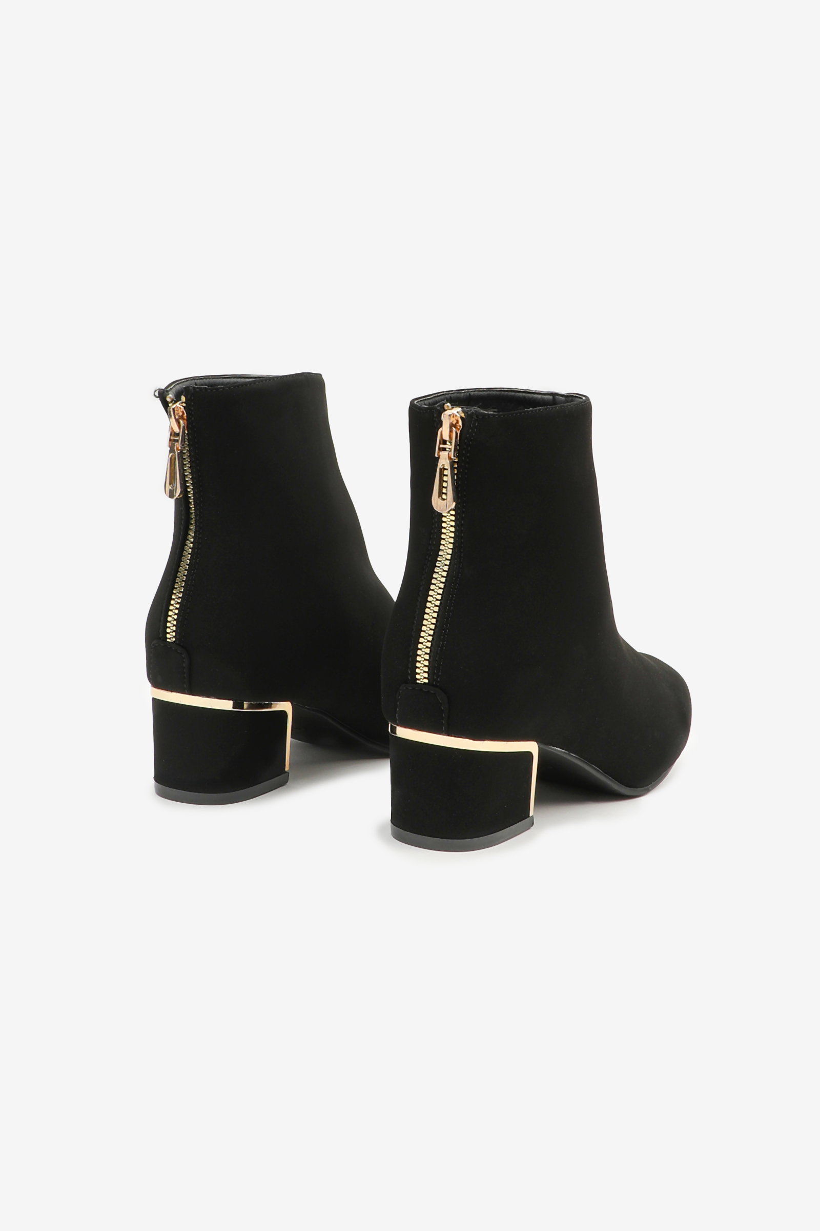 Faux Suede Ankle Boots with Embellished Heel