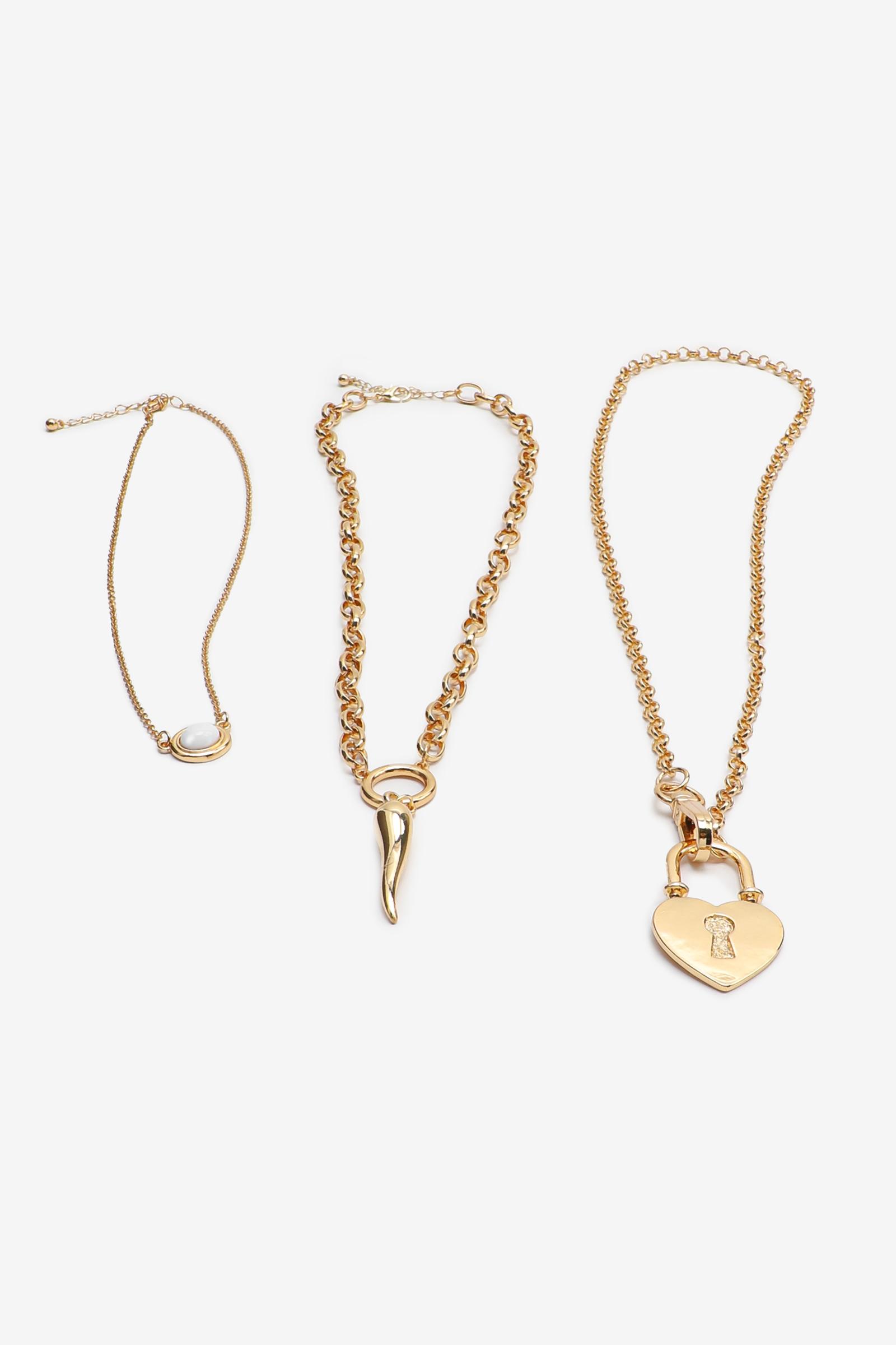Collier de chaînes superposées à cadenas en coeur